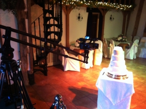 Here is our crane pointing straight at the wedding cake.